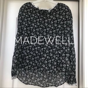 Madewell black and white floral blouse